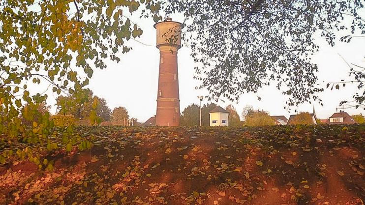 Tower in Ladenburg, Mannheim on an autumn day