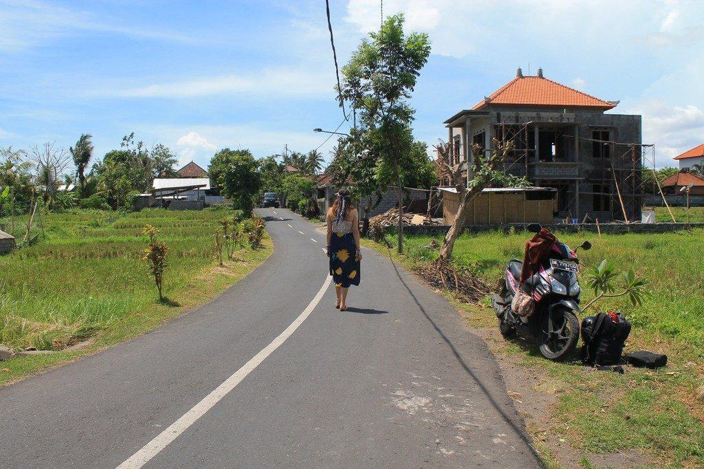 walking on the street in ubud
