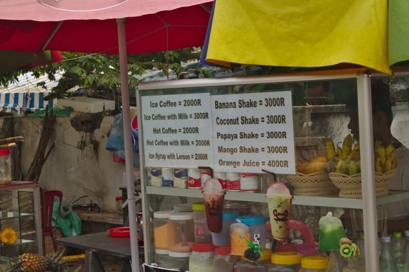 Street vendor prices in Kampot