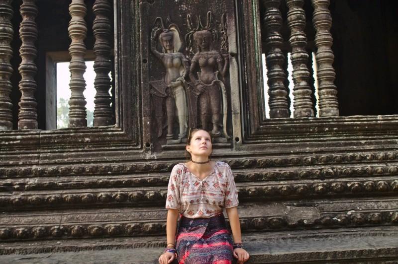 Tina waiting at Angkor Wat