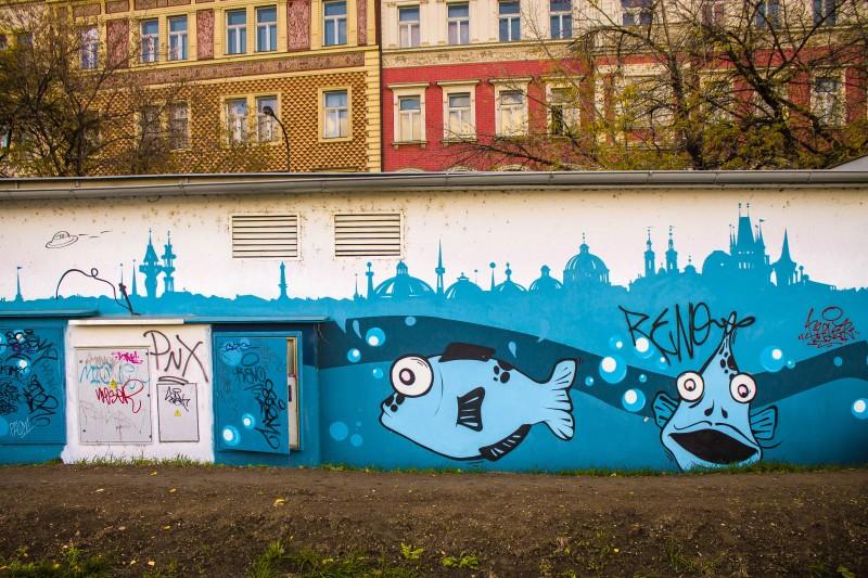 Prague, street art, fish tank, skyline, Hořejší nábř.