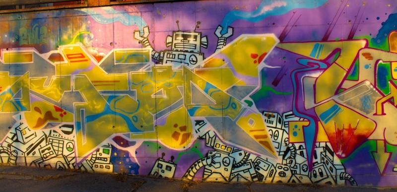 Prague, street art, robots