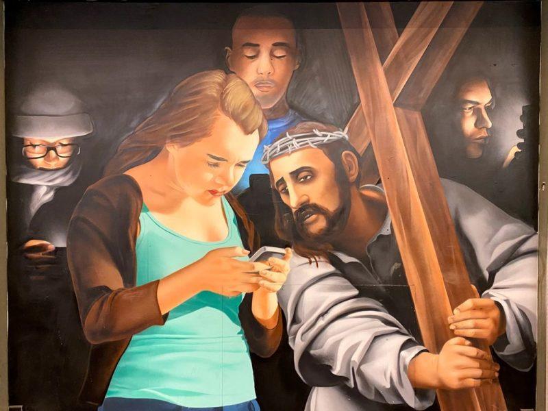 Karlovo náměstí, Metro station, Street art, Biblical scene, Jesus with cross