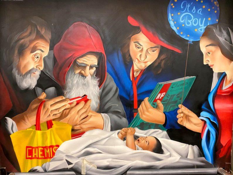 Karlovo náměstí, Metro station, Street art, Biblical scene, Jesus birth