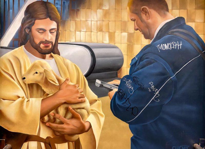 Karlovo náměstí, Metro station, Street art, Biblical scene, Jesus and ticket controller