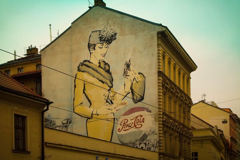 Prague, street art, Pepsi advertisement, Jindřišská