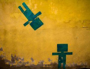 Prague, street art, cardboard men
