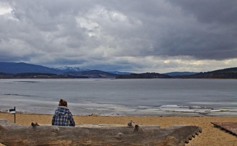 Tina at the beach at Lake Lipno