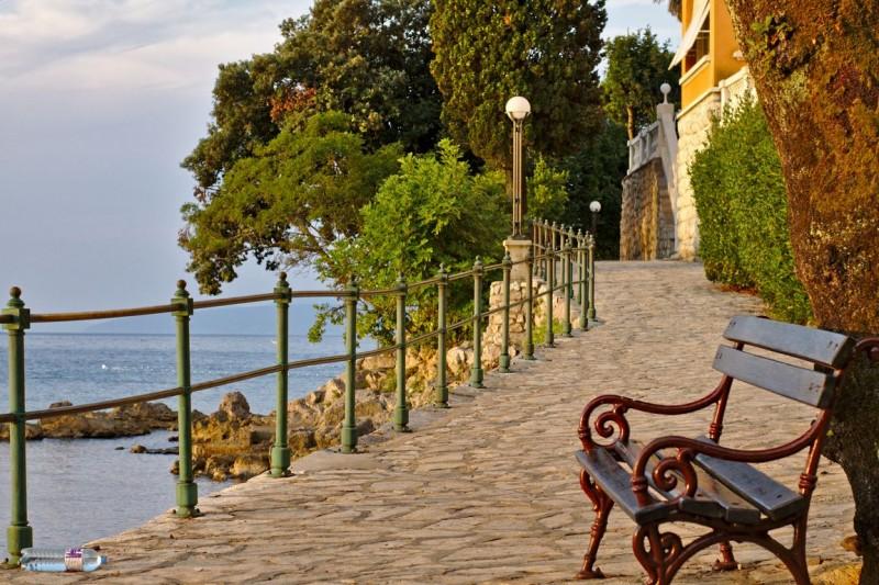Opatija's long coastal promenade