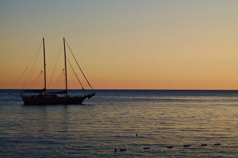 Montenegro, Kotor, sunset, sailboat