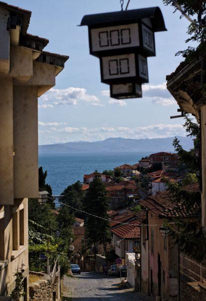 Macedonia, Ohrid, Lantern, sea view