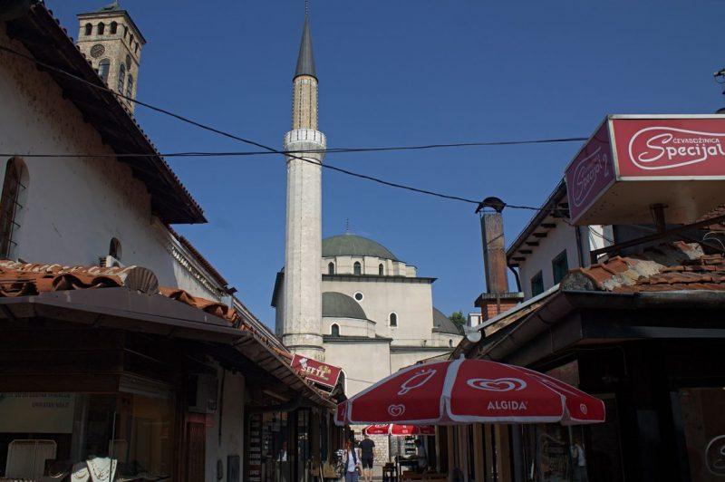 Mosque next to a church in Sarajevo