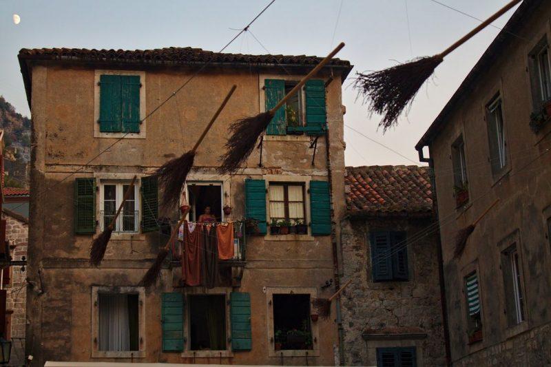 Montenegro, Kotor, old town, brooms