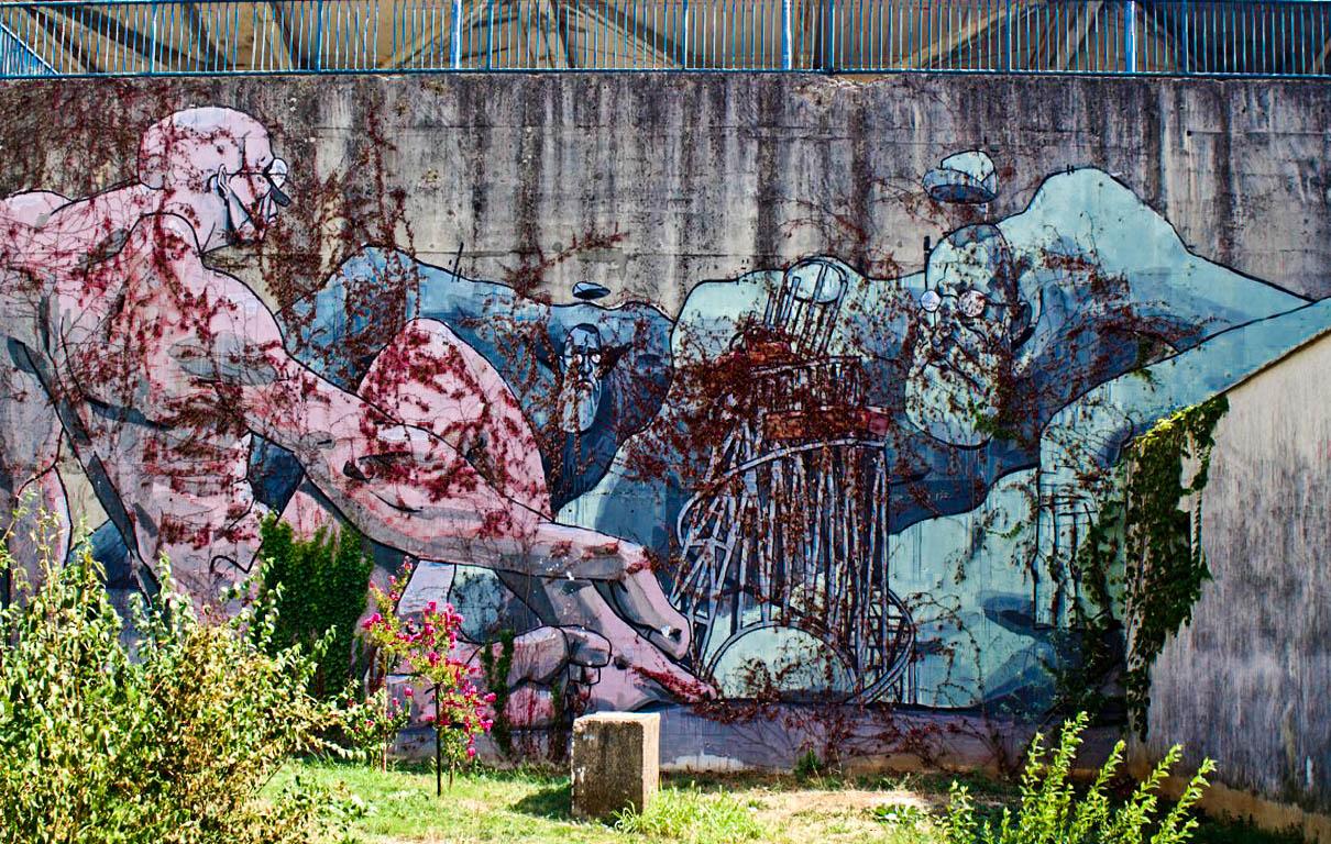Mostar, street art, railway station, giants