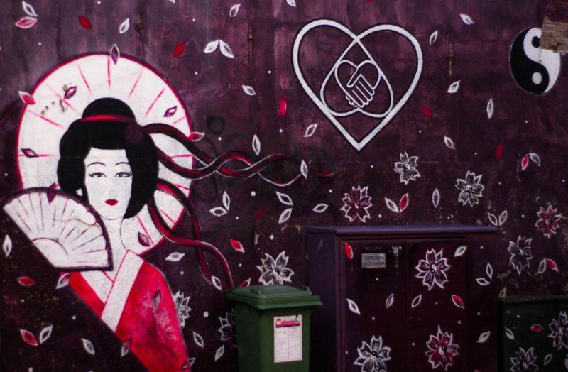 Geisha, Chinese restaurant, streetart, Leeuwarden