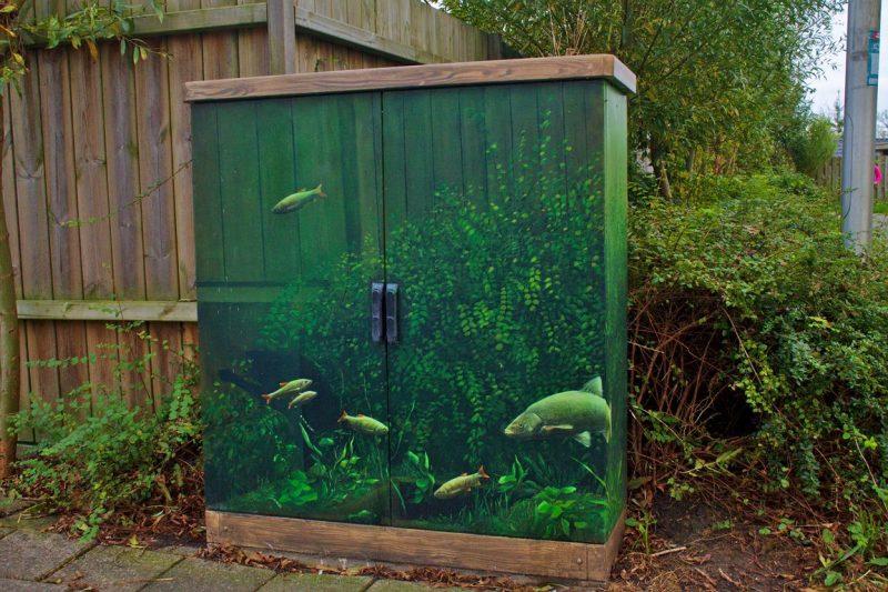 Transparent aquarium street art, Achter de Hoven towards Potmarge, Leeuwarden