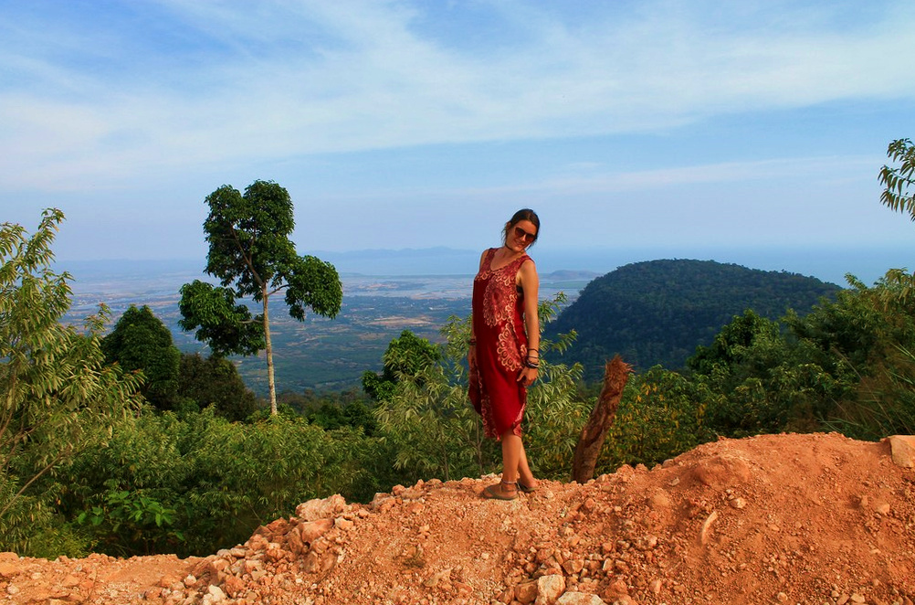 Having a nice view in the mountains of Kampot