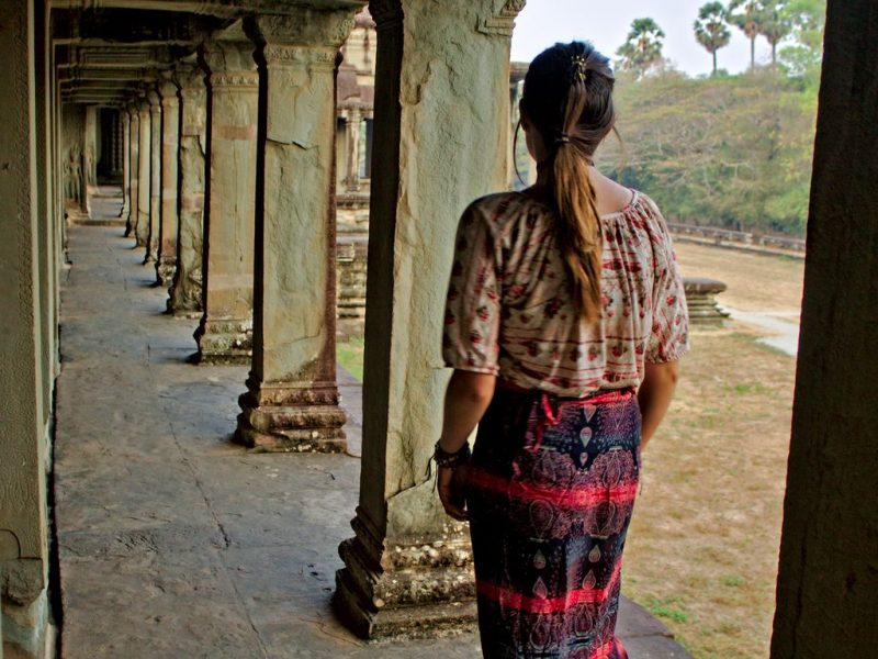 Walking on the terrace of Angkor Wat, Cambodia