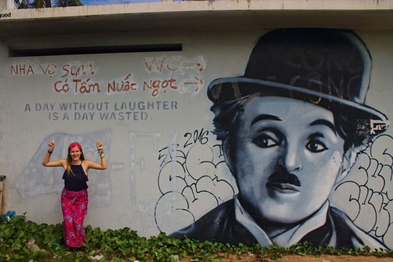 Street art in Mui Ne with Charlie Chaplin