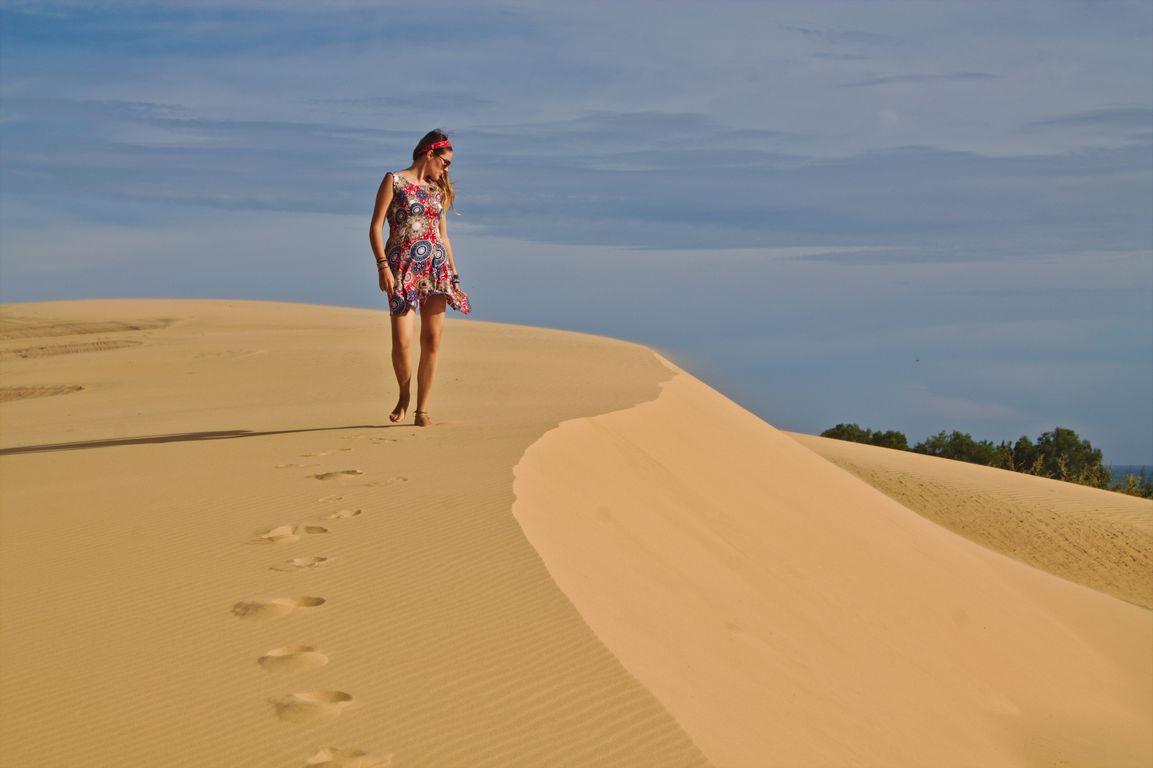 Walking on the White Sand Dune of Mui Ne, Vietnam