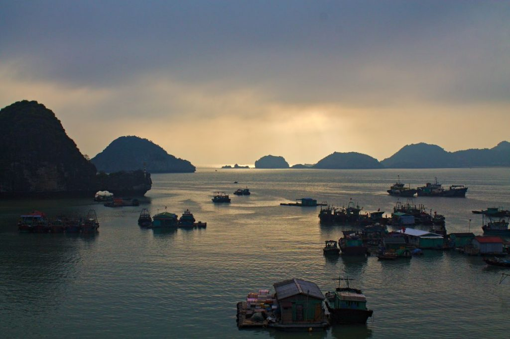 View over Hạ Long Bay from Le Pont Hostel, Cát Bà Island