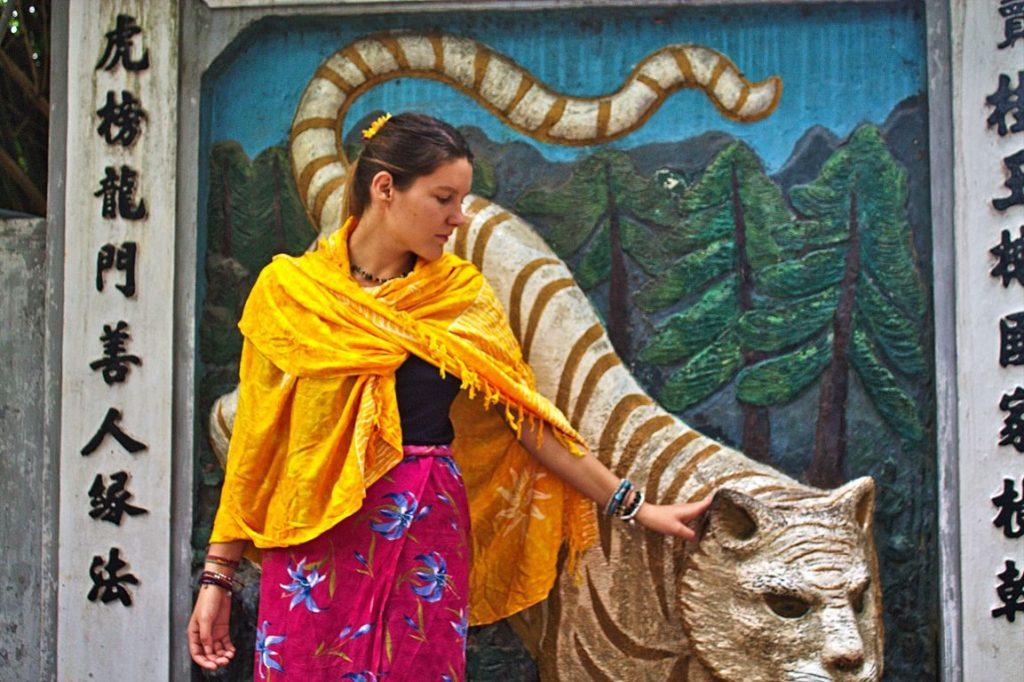 Tina and the lion, Hanoi Ceramic Mosaic Mural, Vietnam