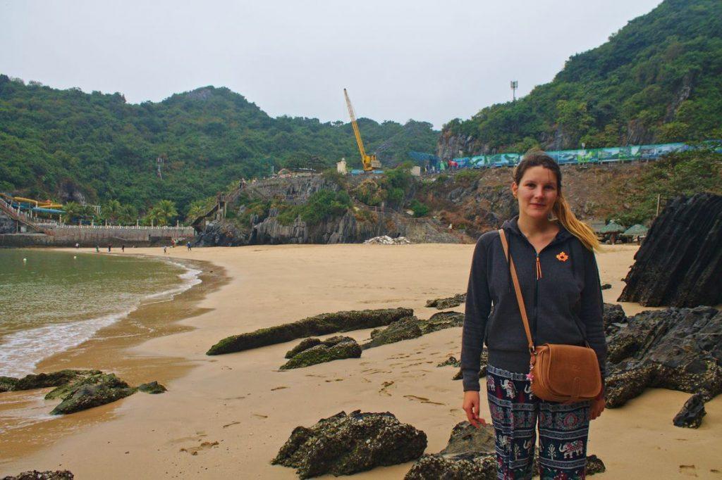 Tina walking along the beach, Cat Ba, Vietnam