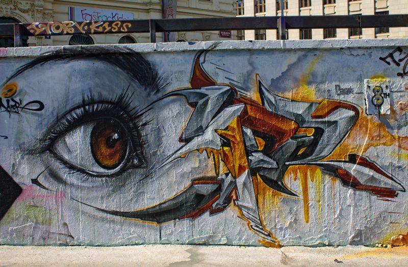 graffity wall, eye, graffity, prague, streetart
