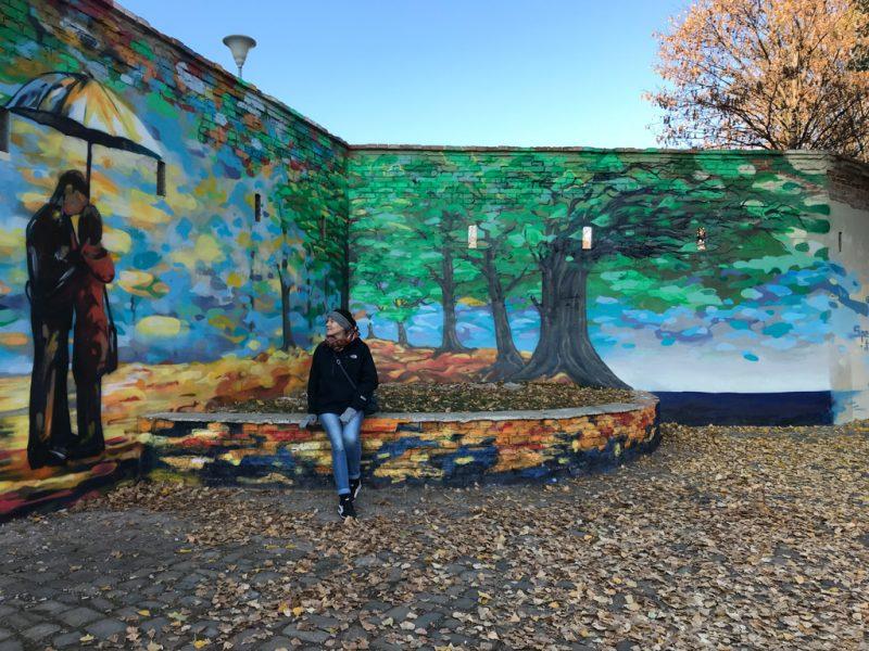 Kampa, street art, wall art, tree, leaves, girl, umbrella, 2019