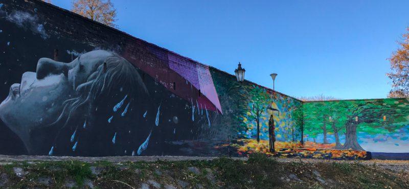 Kampa, street art, girl, umbrella, 2019