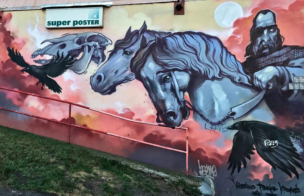 Horses, street art, Žižkov, Prague