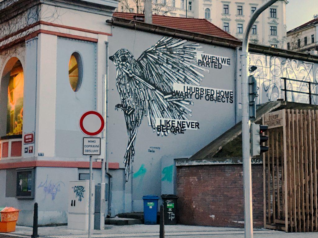 Bird, street art, train station, Prague