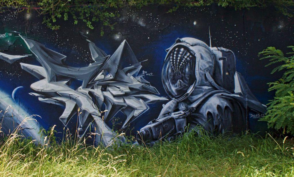 Astronaut street art, Barrandov, Prague