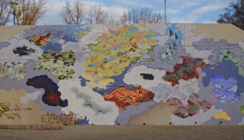 Holešovice, Vltava station, Street art, world map, Prague