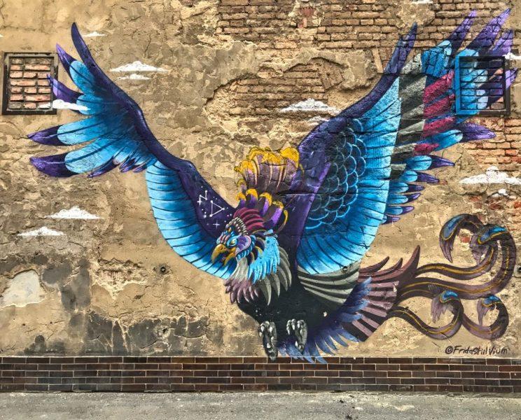 Vnitrblock Prague Streetart, blue bird