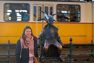 Tina at the Little Prince statue, Budapest