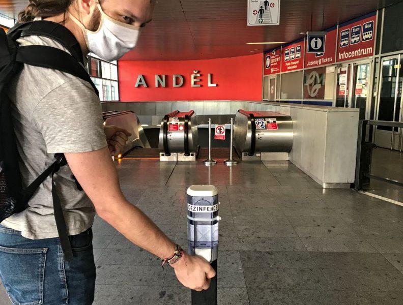 Anděl metro station disinfection