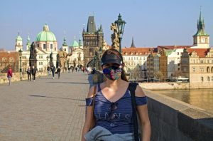 Nearly empty Charles Bridge during COVID-19