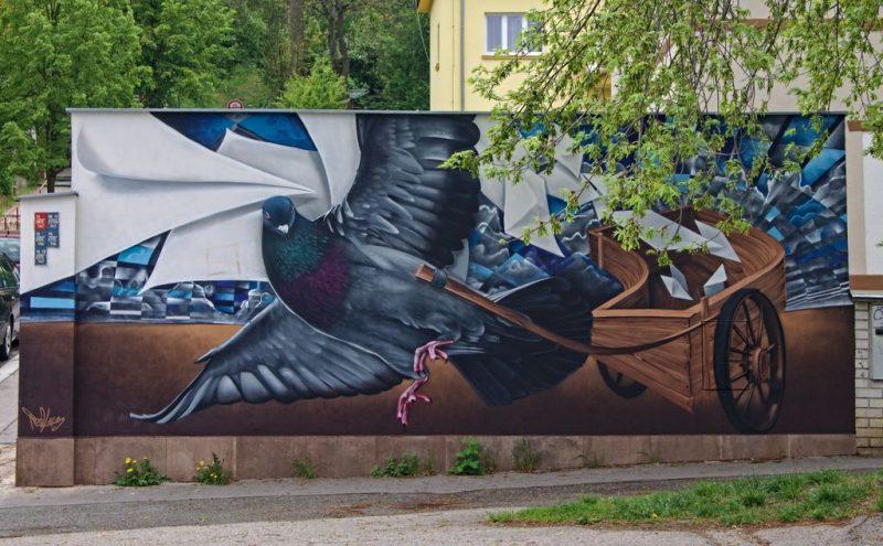 Pigeon painting Schodová, Košíře area