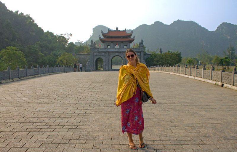 Tina at Hoa Lư entrance bridge