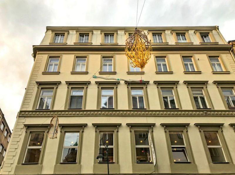 Street sculpture in the sky, Dlouhá, Prague