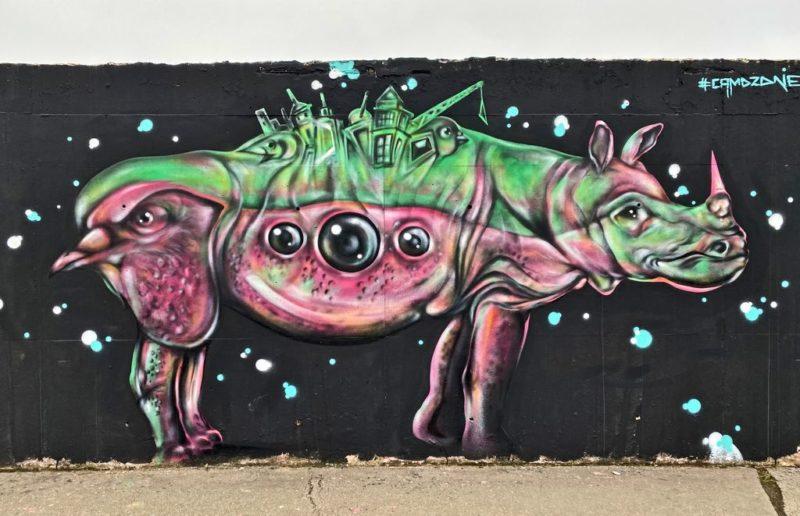 Rhino, Street art, Radlicka, Prague
