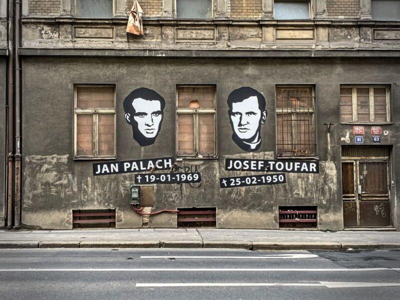 Jan Palach, Josef Toufar,Street art, Legerova, Prague