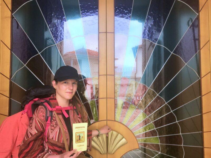 Tina with pilgrim's passport, Camino Portugues