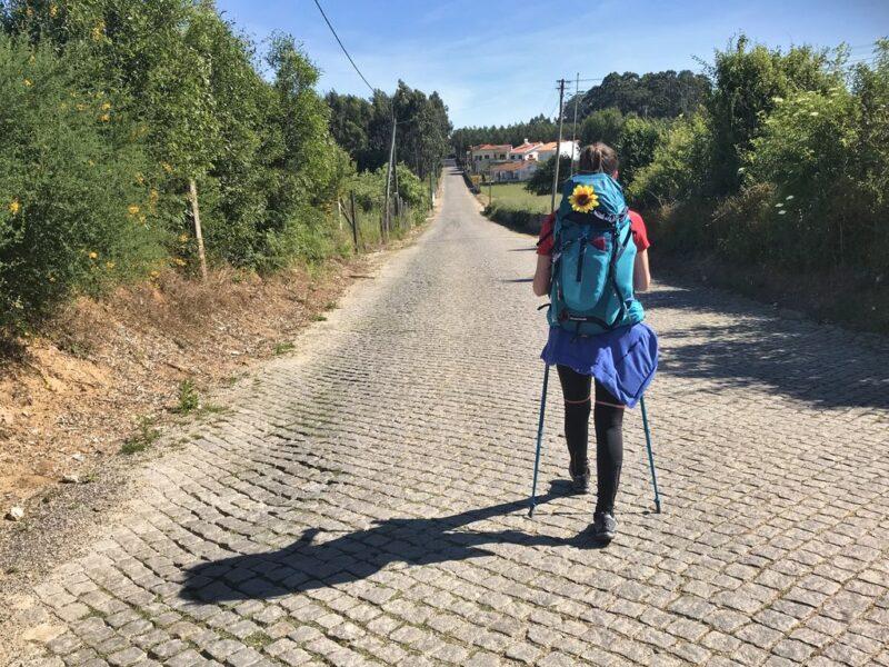 Andrea walking, Camino Portugues