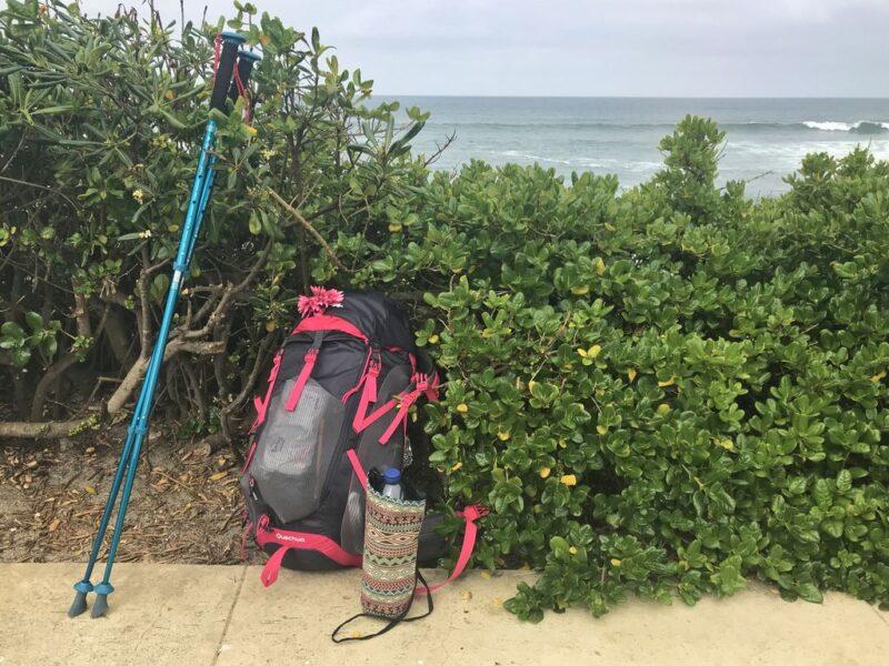 backpack, ocean, Camino Portugues