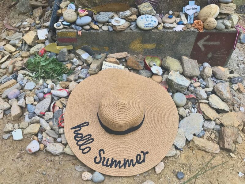 rocks and hat on the camino, Camino Portugues