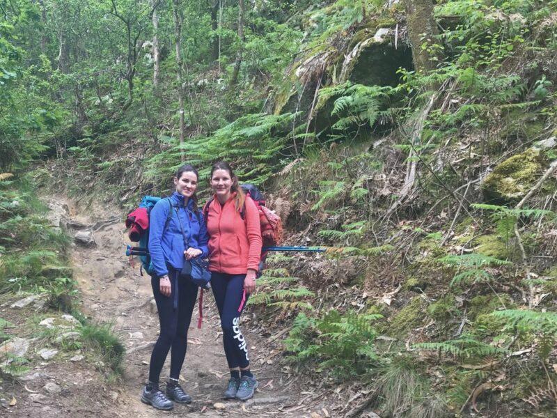 Tina and Adrea hiking, Camino Portugues
