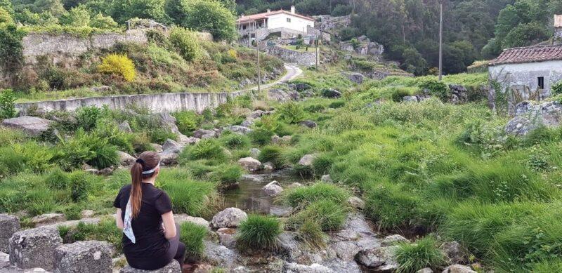 Tina meditating, Camino Portugues
