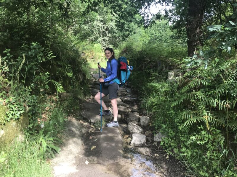Andrea climbing, Camino Portugues